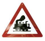 Verkehrsschild - Achtung Dampflok