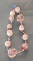 Bracelet with pink glass beads.