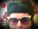 Cat-Eye-Spiegel-Sonnenbrille in Schwarz