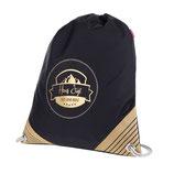 schwarzer Sportbeutel mit goldenem Hans Sigl - Logo und Original-Autogramm auf der Tasche