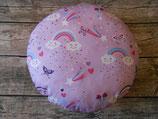 Sitzkissen, Kitakissen mit Regenbögen und Wölkchen in Flieder/Pink