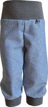 Mitwachshose aus Leinen/Baumwolle in graublauem Fischgrät mit langen Beinbündchen