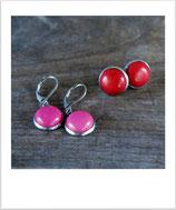 Ohrstecker Halbedelstein rot oder pink