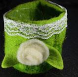 Blumenübertöpfchen aus Filz grün