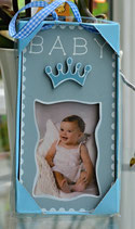 Türschild Baby mit Fotorahmen hellblau
