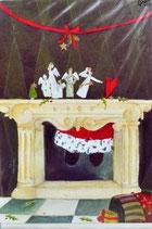 Doppelkarte Weihnachtskamin von Silke Leffler