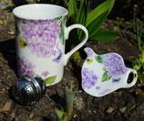 Teeset 3tlg. Flieder mit Schmetterlingen