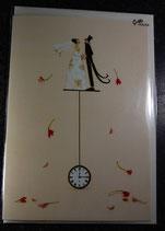 Doppelkarte Brautpaar auf Uhr von Silke Leffler