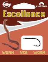 Stucki Excellence Worm Hooks montiert - Vorfach mit Angelhaken