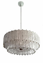 AURELIANO TOSO Large Textured Chandelier for Vetreria Aureliano Toso, ITALY 1960s