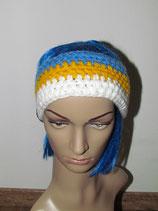 Stirnband in den Farben Blau-gelb-weiß