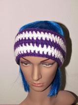 Stirnband in den Farben lila-weiß
