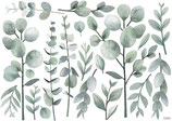 Sticker décor L tiges et feuillage greenery eucalyptus