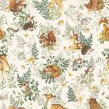 Papier peint enfant - Animaux de la Forêt (fond beige)