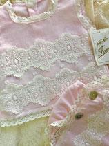 Conjunto lino puntillas artesania fami rosa