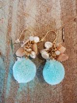 blue pompom Earring