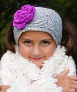 Gray and Orchid Knit Headband, ear warmer with a crochet flower.