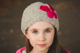 Gray and  Knit Butterfly Headband, ear warmer