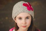 Gray and  Knit Butterfly Headband, ear warmer