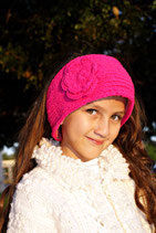 Rosa Pink Knit Headband, ear warmer with a crochet flower.
