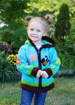 Turquoise Melissa Bee Knit Zip Hoodie