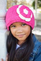 Pink and Ecru Knit Flower Headband Bicolor