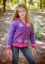 Purple Daisy Knit Zip Hoodie