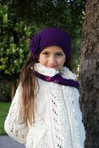 Violet Knit Headband, ear warmer with a crochet flower.