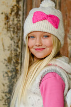 White Pink Wool Lara Beanie /Hat