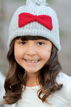 Gray Red Wool Lara Beanie /Hat