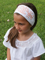 Cynthia Embroidered -White Peach headband