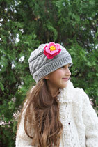 Gray Wool Pink Flower Gloria Beanie /Hat
