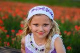 Cynthia Embroidered -White Purple headband