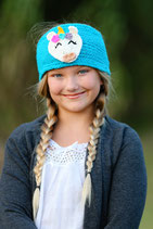 Blue  Knit Unicorn Headband, ear warmer