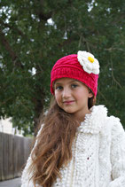 Red & White Wool Flor Beanie /Hat