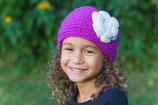 Lilac and Ecru Knit Headband, ear warmer with a crochet flower.