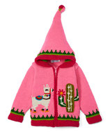 Pink Happy Llama Knit Zipped Hoodie