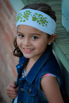 Cynthia Embroidered -White Green headband