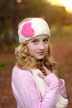 Natural and Pink Heart Knit Headband, ear warmer