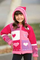 Pink Heart Knit Zip Hoodie
