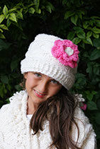 White & Pink Flower Wool Gloria Beanie /Hat
