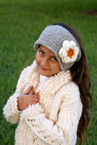 Gray and Daisy Knit Headband, ear warmer with a crochet flower.