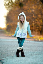 Ecru & Lilac  Gianna Butterfly  Knit Zip Hoodie VEST