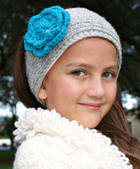 Gray and Turquoise Knit Headband, ear warmer with a crochet flower.