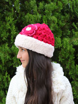 Red Wool Sherpa Beanie /Hat