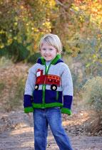 Fire Truck Knit Zip Hoodie- Boy