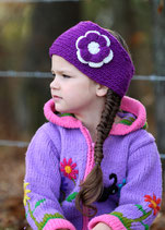Purple and Ecru Knit Flower Headband Bicolor