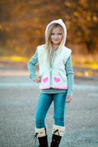 Ecru & Pink Jillian Kitty  Knit Zip Hoodie VEST