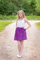 Purple Estella Stripe Sash Skirt - Girls