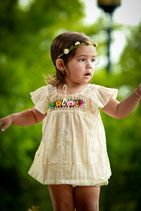 Natural Boho Crochet Embroidered Blouse Girl